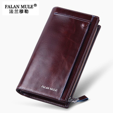 FALAN MULE Business Men Wallet Genuine Cowhide Oil Wax Leather Hand Bag Fashion Long Male Clutch Bag Carteira Portable Wallet