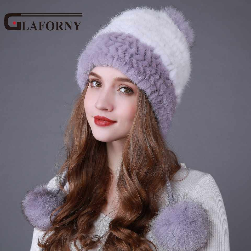 7766ef41100 Glaforny 2017 Winter Women Fur Hats Knitted Mink Fur Bomber Hats with 3 Fox  Fur Pompoms