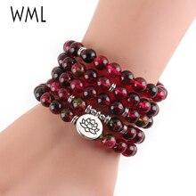 Ice Watermelon Crystal bracelets bangles Fluorite beads Lotus OM Buddha Charm Yoga Bracelet 108 mala necklace for women jewelry