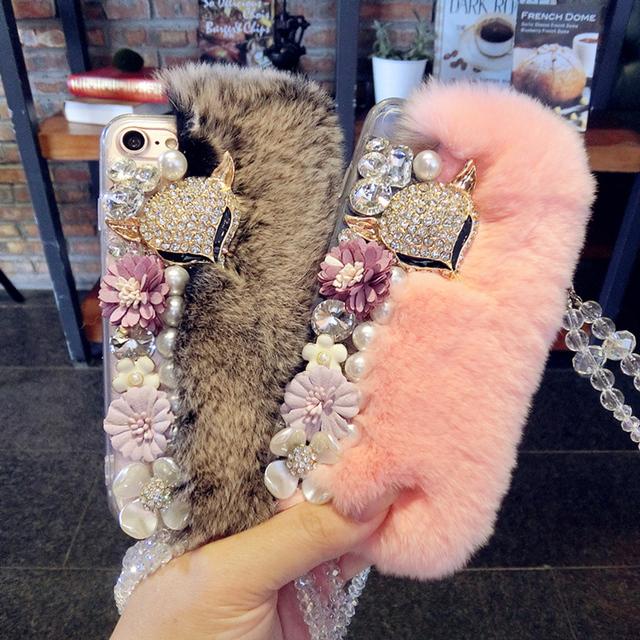 Pele de coelho de luxo case para iphone 7 case diamante fox cabeça capa para coque iphone 6 s 7 plus 6 6 s plus 5S quente cristal capa case