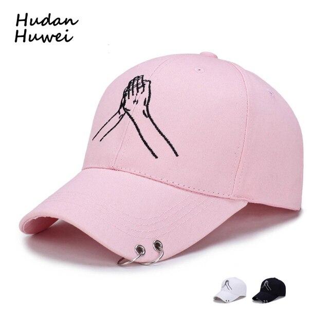 2680061060e0e Aro de Metal hombres mujeres Snapback ajustable 6 Panel gorra de béisbol  sombrero bordado parejas manos