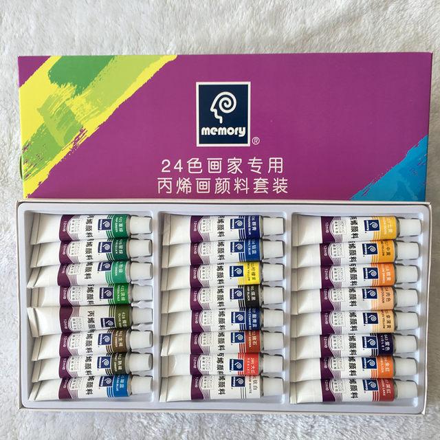 Professional 24pcs Set Paint Acrylic Tube Nail Art Painting Drawing Tool For Artist Kids DIY Design Free Brush
