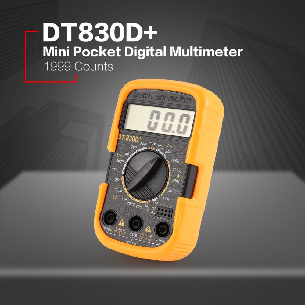 DT830D + Pocket Mini Multímetro Digital 1999 Counts AC/DC Volt Amp Ohm hFE Diodo Continuidade Testador Amperímetro Voltímetro