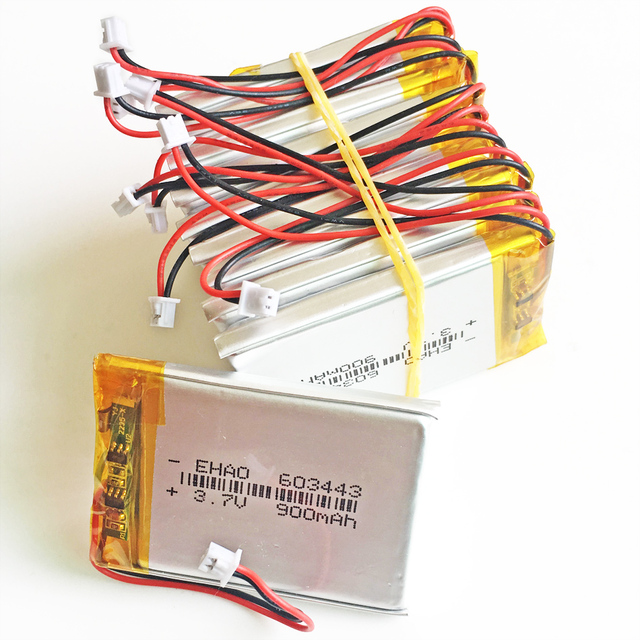 10 X 37V 900mAh Battery JST 125mm 2pin Connector 603443 Lithium Polymer LiPo Rechargeable Cell For Mp3 GPS PSP Speaker