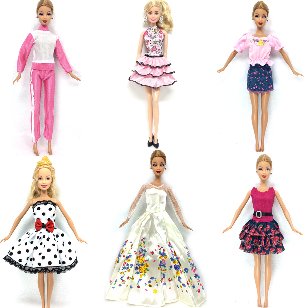 NK 6 Set/Lot Hot Sell Doll Outfits Top Fashion Dress Party Gown Clothes For Barbie Doll Baby Toys Best Girls' Gifts Child Toys best sell practice alloy cymbal set for beginners