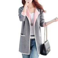 5XL Autumn Winter Jacket Women Coats 2019 Plus Size Knitted Cardigan Jackets Female Outerwear Casual Pocket Coat Jaqueta Mujer