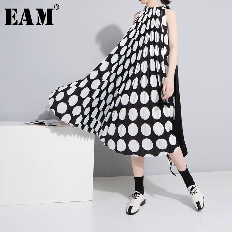 [EAM] 2019 весна зима новый шаблон моды Pleat Черный и белый шить в горошек шифон Свободные Мода женское платье YC41801