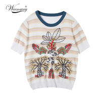 Warmsway Fashion Women T Shirt Leaf Tree Embroidery Short Sleeves O Neck Casual Pullover Top T