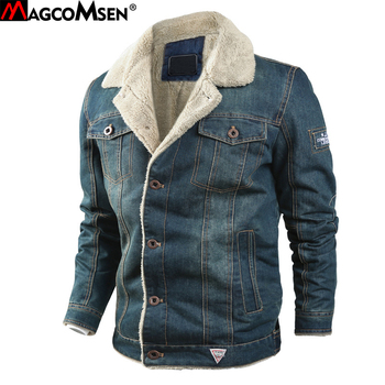 MAGCOMSEN Mens Jackets Winter Warm Demin Jacket Thicken Vintage Jeans Coat for Men Outwear Clothing Plus Size 6XL AG-MG-01