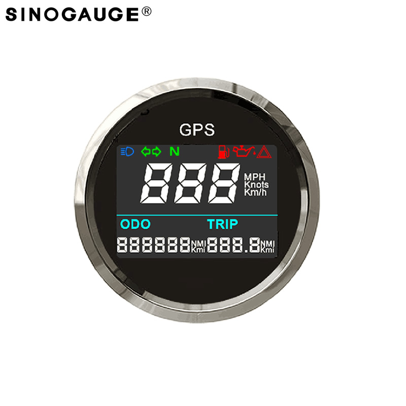 New Digital GPS speedometer  52mm 2inch Motorcycle LCD Speedometer free shipping 2018 kph mph programmable universal Gauge