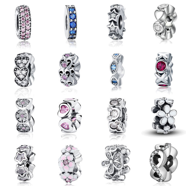 925 Sterling Silver Spacer Star Heart Daisy Flower Alphabet Round Spacer Charm F