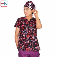 Hennar Brand Medical Scrub Tops For Women Surgical Scrubs Scrub Uniform In 100 Print Cotton