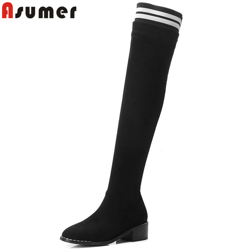 ASUMER big size 33-43 fashion over the knee boots round toe zip autumn winter boots faux suede ladies thight high boots 2018 new asumer big size 33 43 fashion autumn winter shoes woman pointed toe over the knee boots suede leather high heels boots