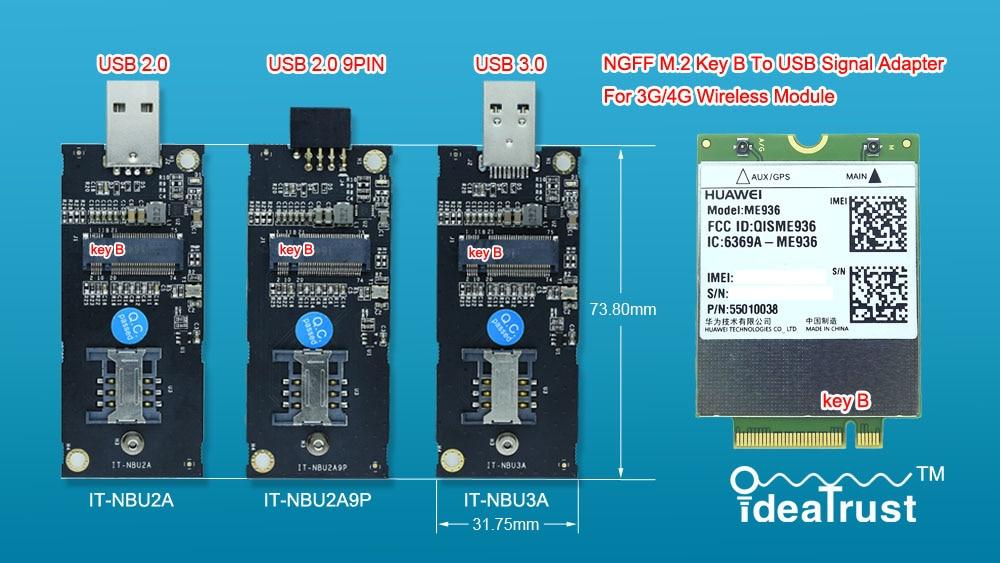 NGFF M2 M.2 Key B To USB Adapter IT-NBU2A IT-NBU2A9P IT-NBU3A For 3G/4G WWAN Card For MU736 ME906 ME936 EM7355 EM7345