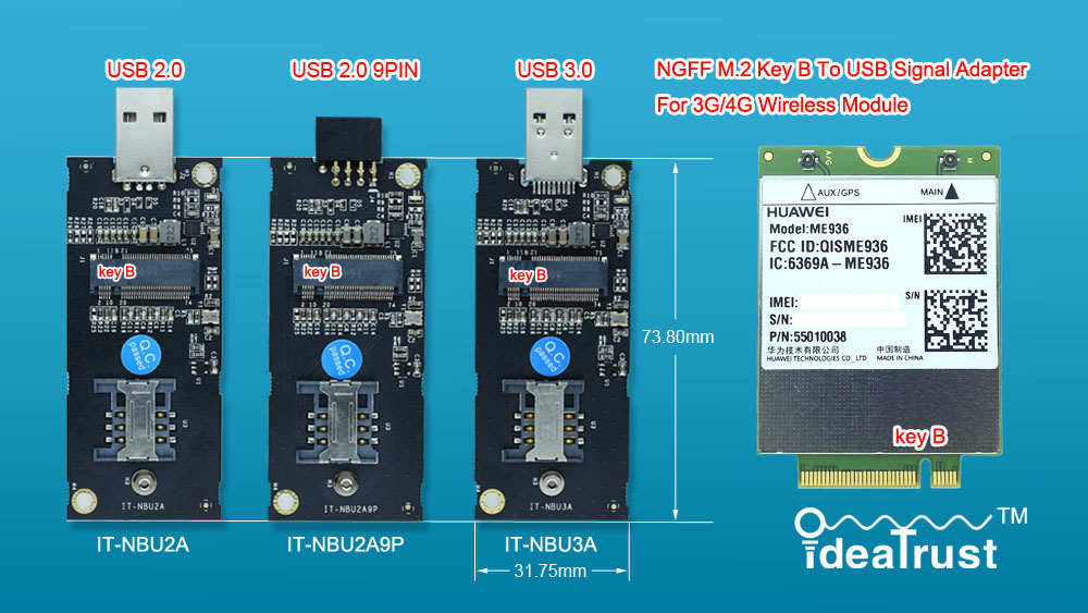 NGFF M2 M.2 Key B To USB Adapter IT-NBU2A IT-NBU2A9P IT-NBU3A For 3G/4G WWAN Card For MU736 ME906 ME936 EM7355 EM7345