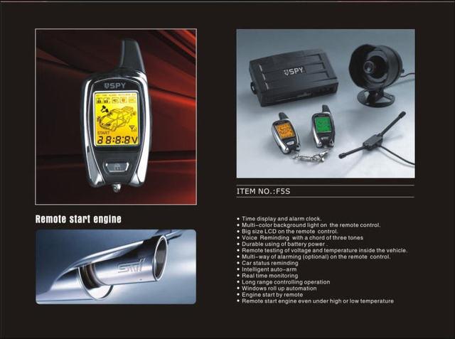 Alemanha F5S ESPIÃO 2-way sistema de alarme do carro do LCD com dois motor de arranque remoto sem sirene JJJ Frete grátis