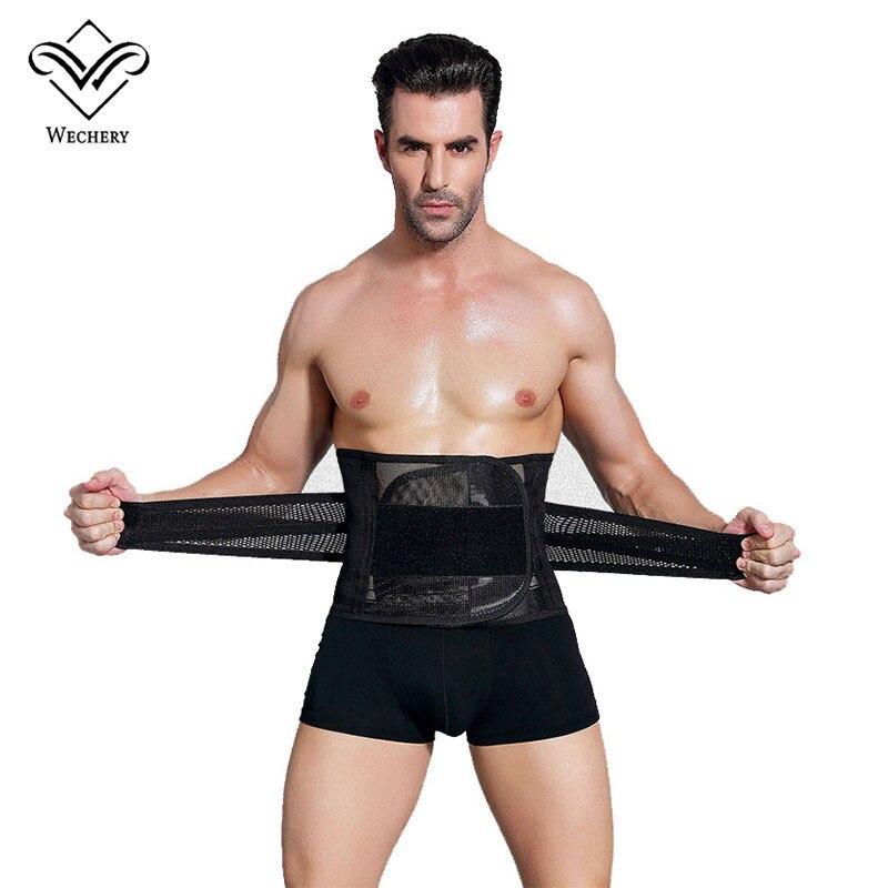 Wechery de correas de cintura entrenador hombres cinturón de adelgazamiento vientre corsé para los hombres de cuerpo Shaper faja reductora Abdomen cinta modeladora
