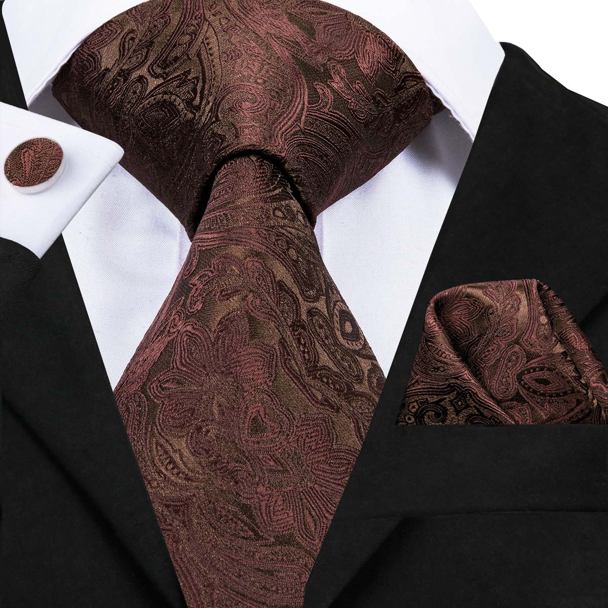 Hi-Tie Mens Ties High Quality Silk Woven Brown Floral Tie Set Handkerchief Cufflinks Set Business Wedding Neck Ties SN-3063