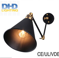 Free shipping adjustable double arms iron shade edison wall lamp industrial long arm sconce bedroom beside lamp fixture