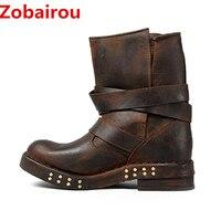 Zobairou Chaussure Femme, женские ботинки кожаные чулки шипованных дождь Сапоги и ботинки для девочек армейские в стиле панк Обувь для верховой езды ко