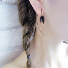 Korean Black Flower Hang Earrings
