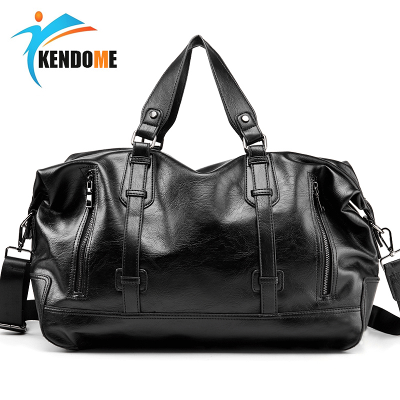 Top PU Leather Men's Outdoor Sports Duffels Bags Gym Bags Classic Travel HandBag Fitness Travel Bags Multifunction Shoulder Bags