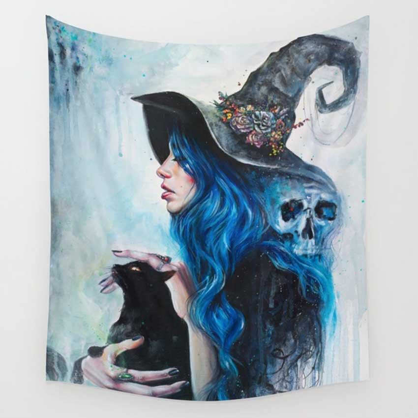 CAMMITEVER Witch Beautiful Woman Bear Tapestry Mandala Bohemian Tapestry for Bedroom Dorm Decor Wall Hanging Galaxy Decor