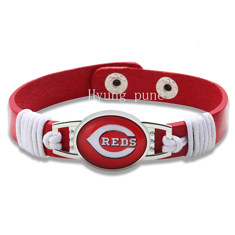 6pcs/lot! Cincinnati Reds Genuine Leather Adjustable Bracelet Wristband Cuff 12mm Red Leather Snap Button Charm Jewelry