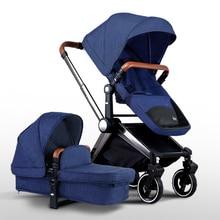 Лучшее Качество Роскошный Детская Коляска Противоударный Большой Колеса Малолитражного Автомобиля Высокая Пейзаж Складной Корзина Коляски Коляски для новорожденных C01