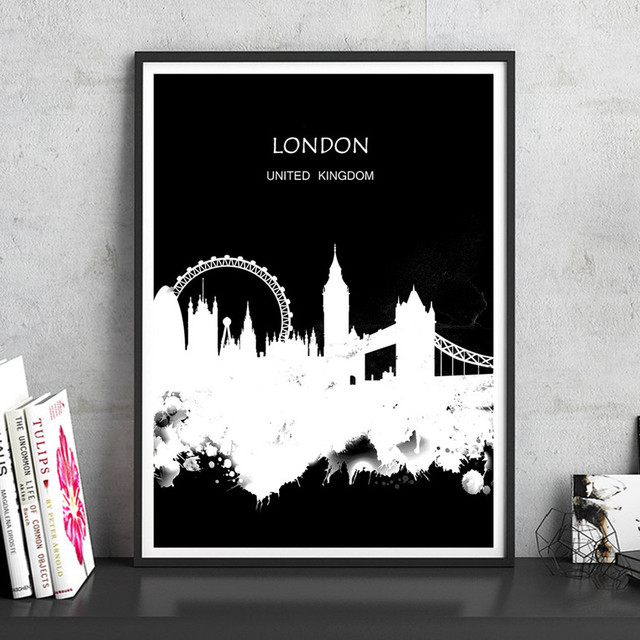 London uk black white city scenery landscape abstract painting print poster wall sticker living room home