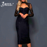 INDRESSME 2019 New Women Fashion Lace Backless Lace Up Bow Bandage Party Dress Halter Sexy Slit Party Dress Lady Fashion Club
