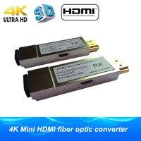 4 К мини 300 м HDMI по Волокно оптический преобразователь без задержки Потери оптического Волокно удлинитель передатчик HDMI 1.4 В более OM3 многомо
