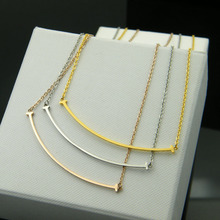 Stainless Gold, Silver and Rose gold filled Smile TIF pendant necklace,fashion brand statement necklace chain women gift