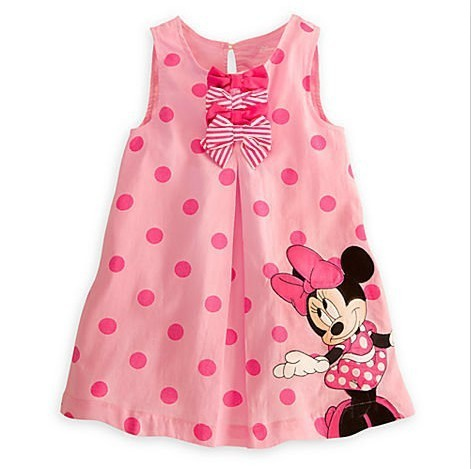 Baby 2013 New Arrival Summer Girls Pink Minnie Mouse Outfit Polka Dot Dress Childrens Dresses Girl Clothing Free Shipping