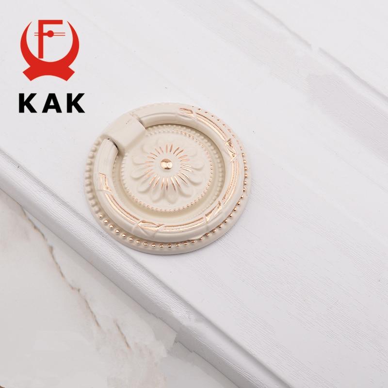 KAK 5pcs/lot Vintage Zinc Alloy Handles 3 Size 6 Color Kitchen Cabinet Knobs European Style Hidden Furniture Handle Drawer Pulls