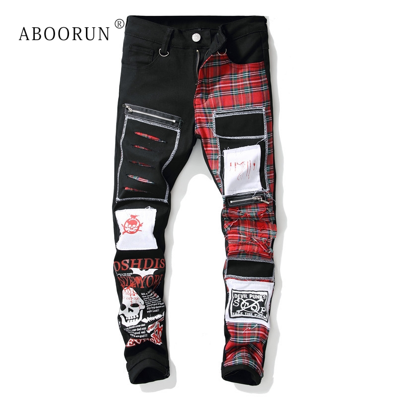 ABOORUN Men's Brand Skinny   Jeans   Fashion Plaid Patches Skull Printed   Jeans   Men's Hip Hop Streetwear   Jeans   x1614