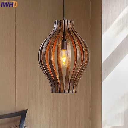 Iwhd Wood Modern Pendant Lights Creative Indoor Lighting Fixtures Single Fashion Dining Roon Bar Handlamp Luminaire Light In From