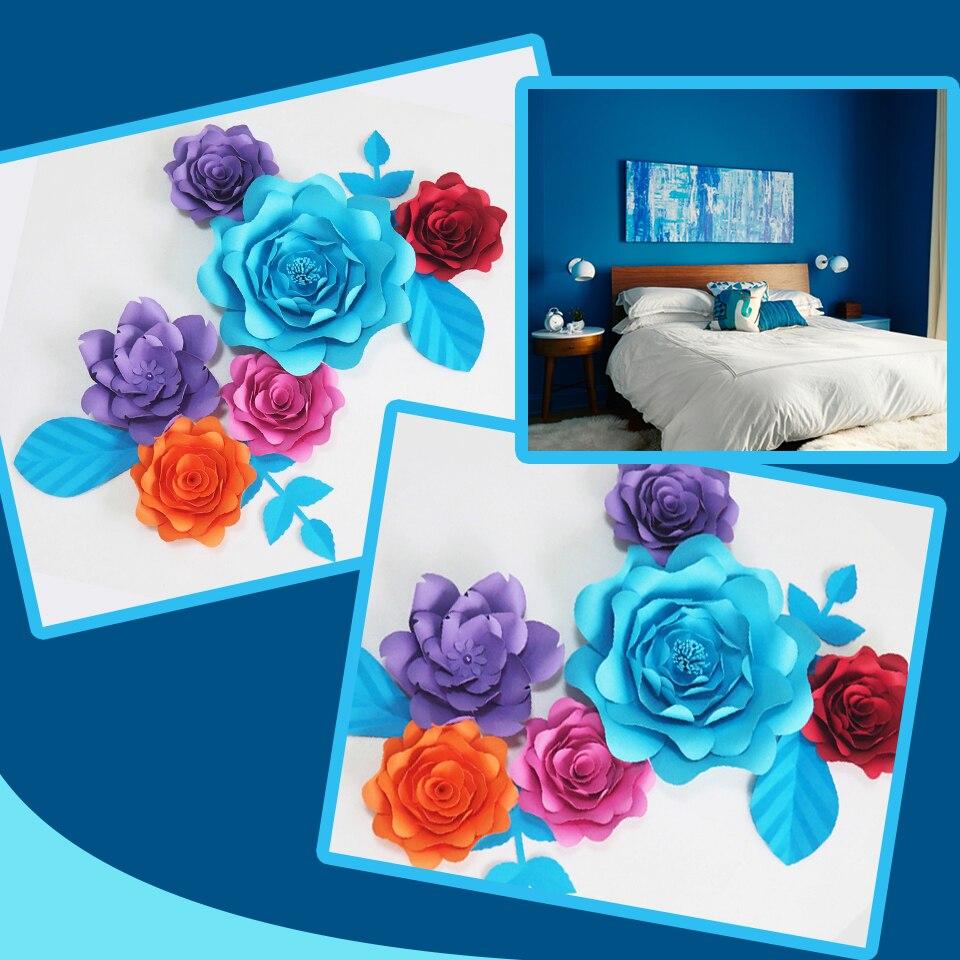 Us 30 17 47 Off Diy Giant Paper Flowers Fleurs Artificielles Backdrop Artificial Rose 6pcs 4 Leaves Bedroom Wall Deco Color Themed Mix Colors In