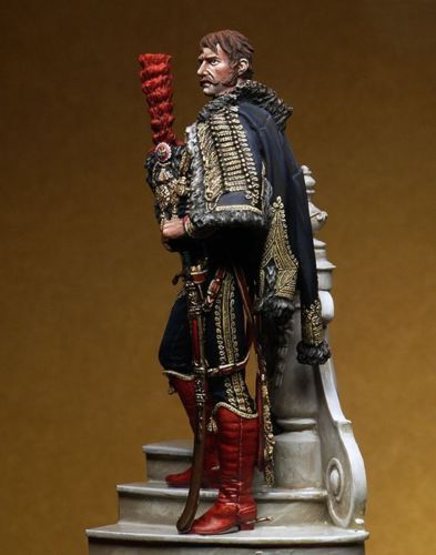 1/24 75mm Soldier Captain Horse Standing With Base 75mm    Resin Model Miniature  Figure Unassembly Unpainted