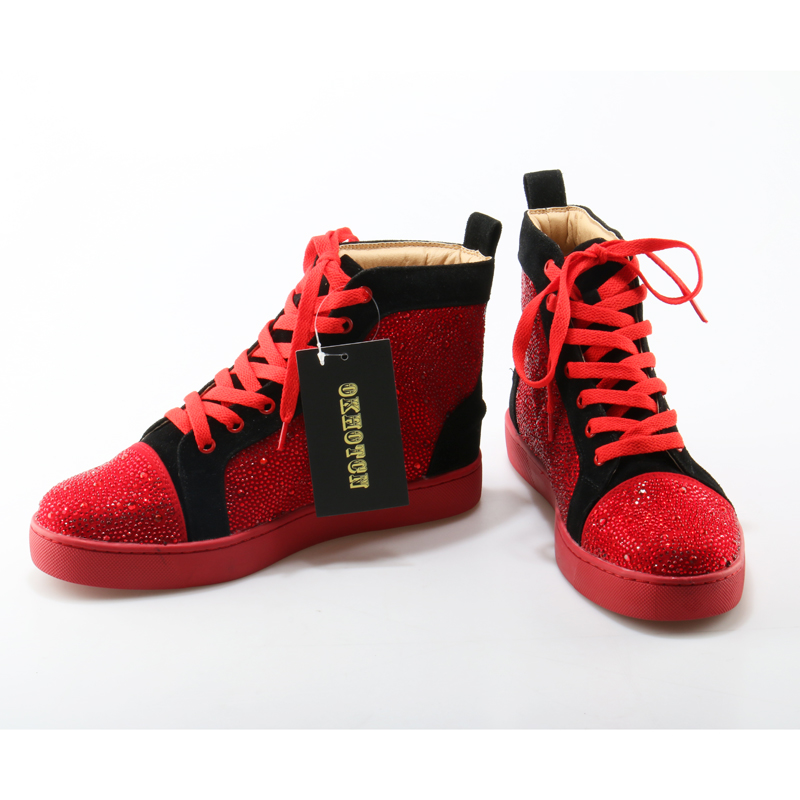 Alta Bling Design Flats Moda Sapatos Da Okhotcn Top Couro Homens Para Casuais Mens Tênis Vermelho Glittler Marca De fqPgwAwn