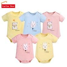 Baby Clothes Short Sleeve Bodysuits 5pcs/lot Summer Body Bebes Girls Boys Clothing Set Cotton Cartoon Overalls Jumpsuits