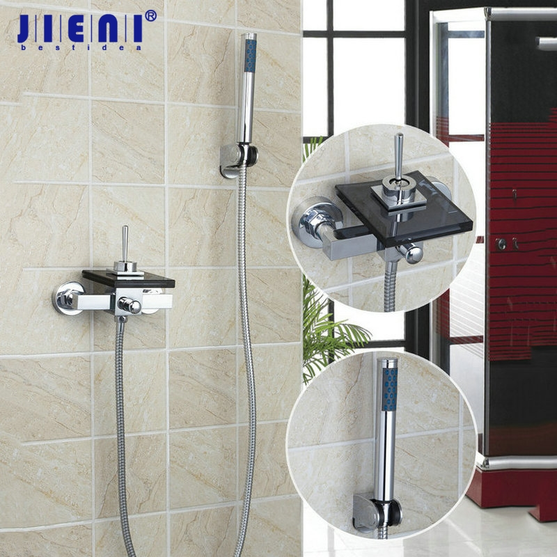 Glass Waterfall Spout Black Wall Mounted Chrome brass bathroom bathtub sink mixer tap great faucet Tap with hand shower polished chrome double cross handles wall mounted bathroom clawfoot bathtub tub faucet mixer tap w hand shower atf902