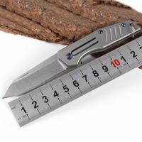 New style The titanium handle Pure manual D2 knife Pattern steel folding knife outdoor tools Mini key knife