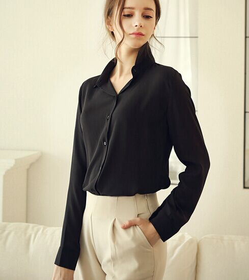 9705245680b138 High quality 1 piece/lot 100% polyester lady chiffon blouses fashion  girlish shirt white red black yellow blue wholesale-in Blouses & Shirts  from Women's ...