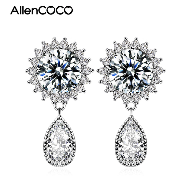 ALLENCOCO Princess Round Cut Silver/Rose Gold Plated Solitaire  Earrings Full Set Of 3 A+ CZ Water Stud Earrings For Women