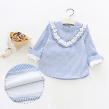 New Girl Shirts Striped Long Sleeve Warm Thicken Winter Autumn For Girls Shirts Kids Clothes Children Tops Light Blue