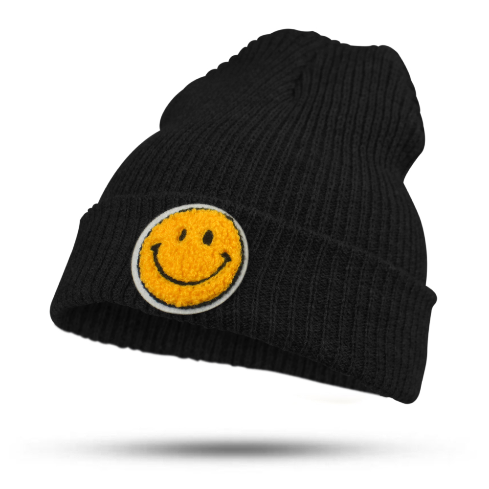 2017 Fashion Solid Smile Face Hat for Women Girls Men Knitted Hats Female Black Autumn Winter Beanies bonnet Skullies Caps fine three dimensional five star embroidery hat for women girls men boys knitted hats female autumn winter beanies skullies caps