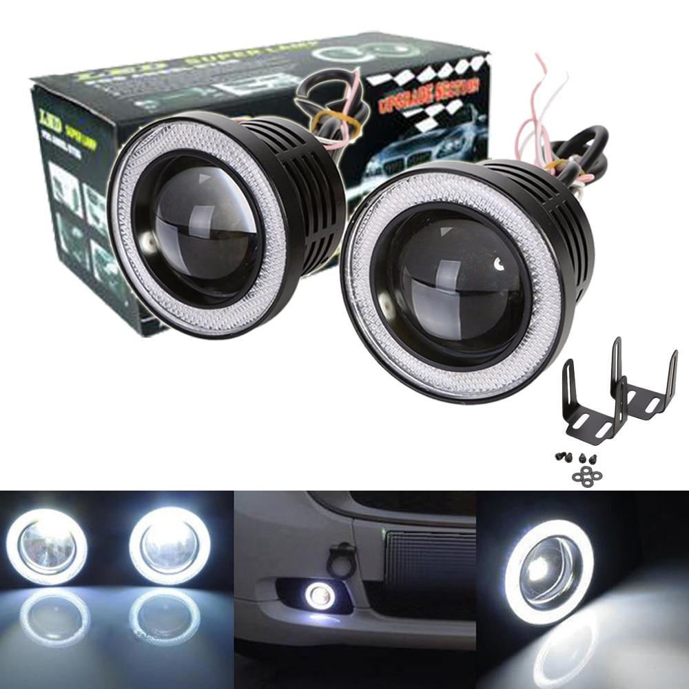 2x2.5 3 3.5inch 20W COB LED Fog Projector Light Car Angle Eyes Halo Ring DRL Bulbs motorcycles led headlamp waterproof h7 6w 440lm 2 led white light car angle eyes decoding headlamp 2 pcs 12v
