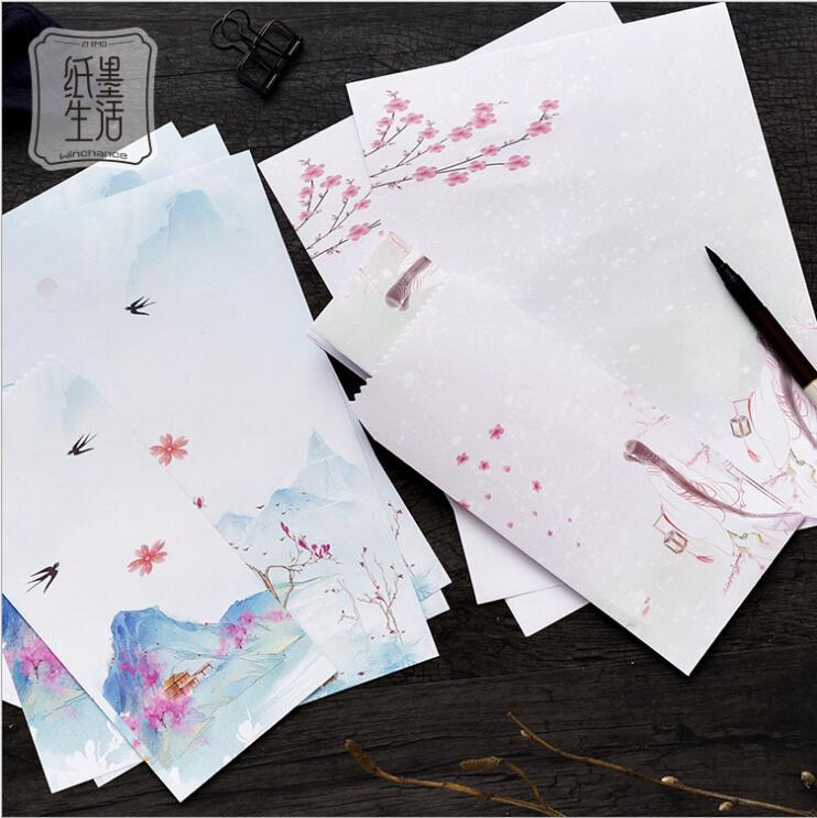 12 Pcs/Set 4 Envelopes + 8 Writting Paper Ancient Chinese Style Mountain And River Series Envelope For Gift Korean Stationery