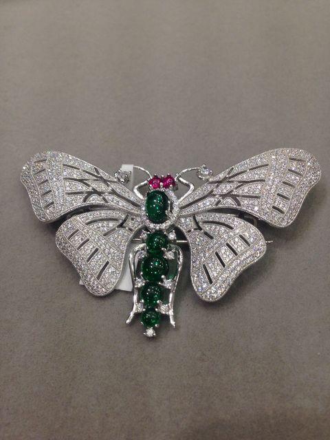 Luxo borboleta strass completo broche 925 prata cubic zircon mulheres jóias frete grátis